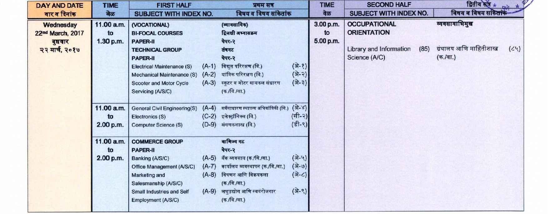Time table Of 80 hsc 2018 commerce Image