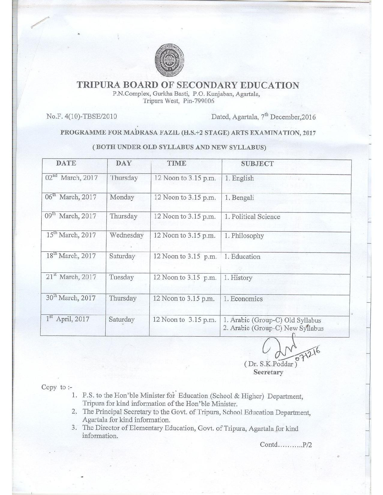 Tripura Inter 1st year Result 2