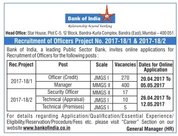 Bank of India Officer Recruitment