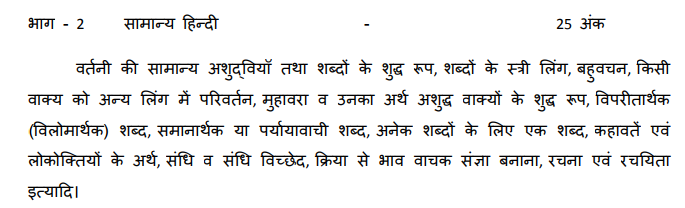 MP Vyapam ASI LDC Hindi Syllabus