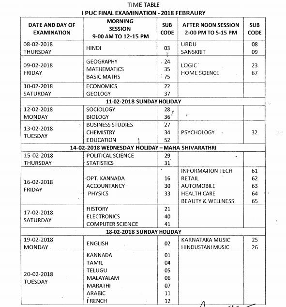 Karnataka 1st puc time table 2018 kar board puc i exam date check karnataka 1st puc time table 2018 pdf malvernweather Images