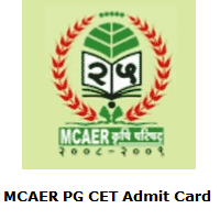 MCAER PG CET Admit Card