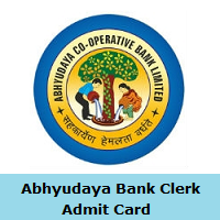 Abhyudaya Bank Clerk Admit Card