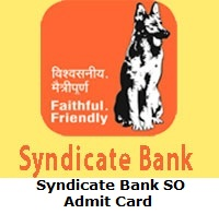 Syndicate Bank SO Admit Card