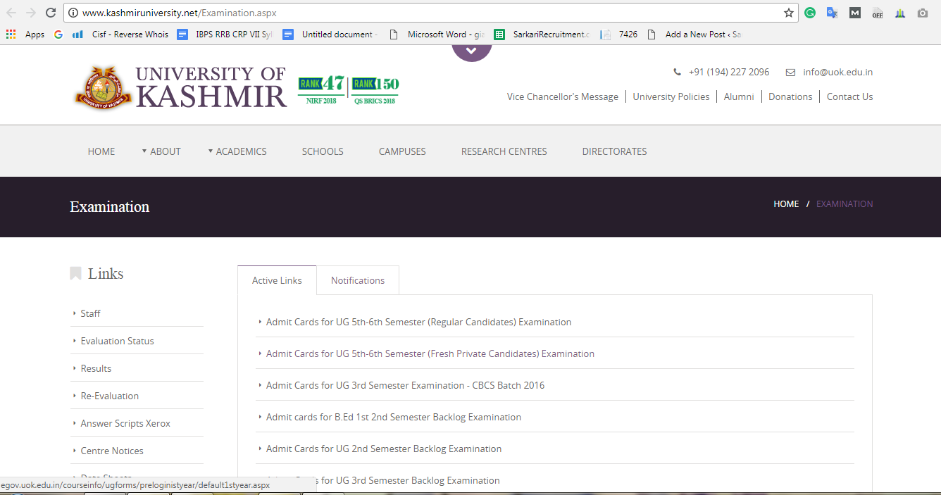 kashmir University Exam Result