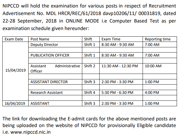 Examination Notification