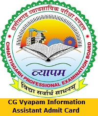 CG Vyapam Information Assistant Admit Card