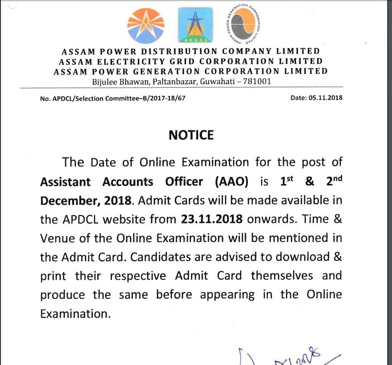 APDCL AAO Exam Notification