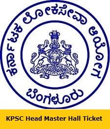 KPSC Head Master Hall Ticket
