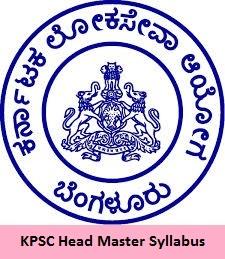 KPSC Head Master Syllabus