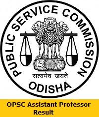 OPSC Assistant Professor Result