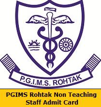 PGIMS Rohtak Non Teaching Staff Admit Card