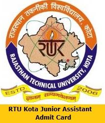 RTU Kota Junior Assistant Admit Card