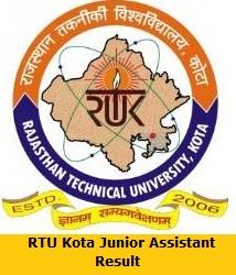 RTU Kota Junior Assistant Result
