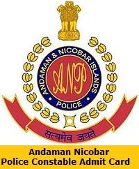 Andaman Nicobar Police Constable Admit Card