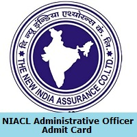 NIACL Administrative Officer Admit Card