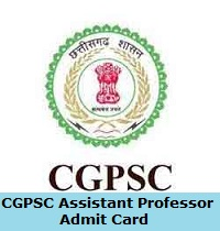 CGPSC Assistant Professor Admit Card