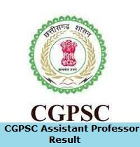 CGPSC Assistant Professor Result