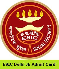 ESIC Delhi JE Admit Card