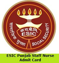 ESIC Punjab Staff Nurse Admit Card