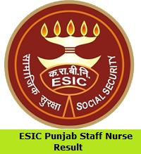 ESIC Punjab Staff Nurse Result