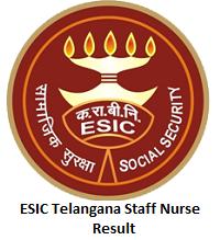 ESIC Telangana Staff Nurse Result
