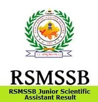 RSMSSB Junior Scientific Assistant Result