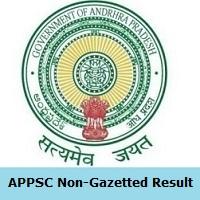 APPSC Non-Gazetted Result