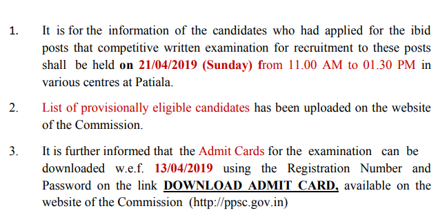 Admit Card & Examination Information