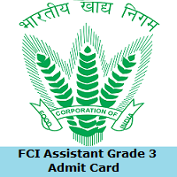 FCI Assistant Grade 3 Admit Card