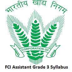 FCI Assistant Grade 3 Syllabus