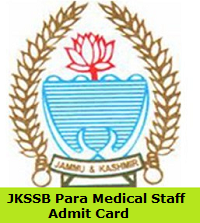 JKSSB Para Medical Staff Admit Card