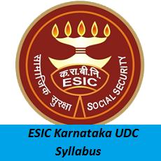 ESIC Karnataka UDC Syllabus