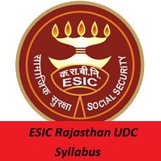 ESIC Rajasthan UDC Syllabus