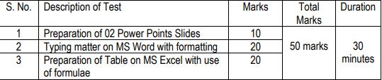 Stenographer Computer Skill Test Pattern