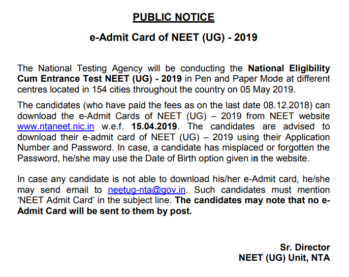 Admit Card Notice