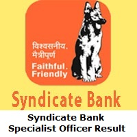 Syndicate Bank Specialist Officer Result